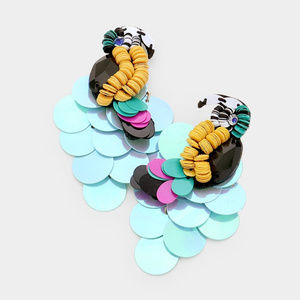 Sequin Cluster Parrot Post Earrings